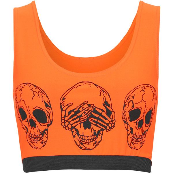 WearAll Skull Print Cropped Vest Top ($10) ❤ liked on Polyvore featuring tops, fluorescent orange, neon crop top, scoop neck crop top, scoopneck top, cropped tops and orange crop top