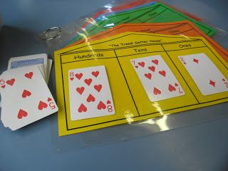 "I made mats like this and my class loves to play. We keep score on the board for who wins each 'hand'. I call out, ""Draw 2 (or 3) cards and make the least/greatest number possible."" I also made one which includes thousands, for later."