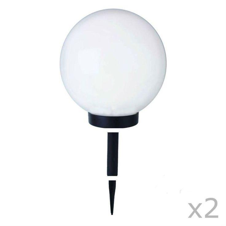 Globe Light – 2 Boules Lumineuses D'extérieur Solaires Led À Piquer Ou Poser Ø25cm – Taille : Taille Unique
