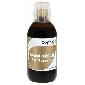 Argent colloïdal 20 PPM synergisé 500 ml Solution active purifiante à base d'argent colloïdal et d'huiles essentielles  Hydrate, purifie et apaise la peau.  Usage externe. Volume net 500 ml