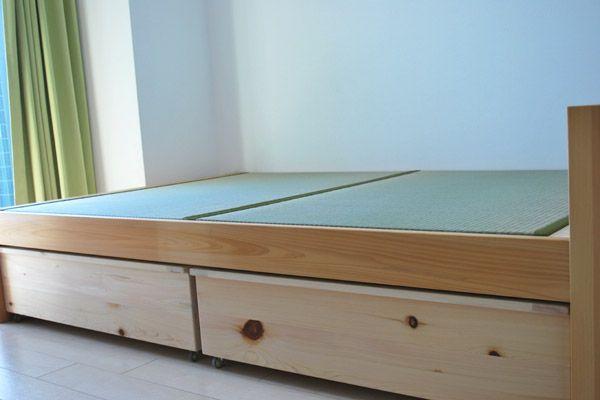 ロフトベッドの高さを変更し畳ベッドに ベッド下に収納プラス