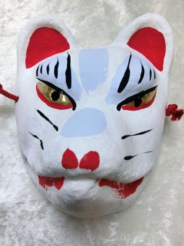 Japanese-traditional-little-fox-mask-Kyoto-Fushimi-inari-kitsune-white