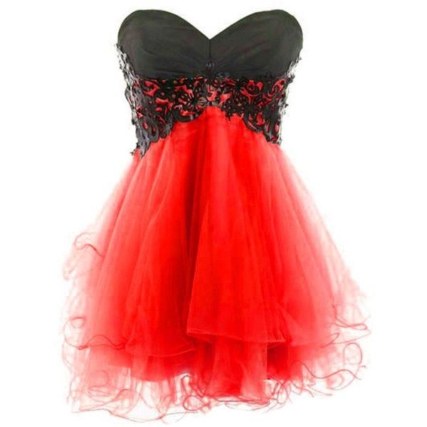 Medon's Sweetheart Tulle and Applique Short Prom Dress ($59) ❤ liked on Polyvore featuring dresses, short cocktail prom dresses, tulle prom dresses, prom dresses, red dress and short dresses