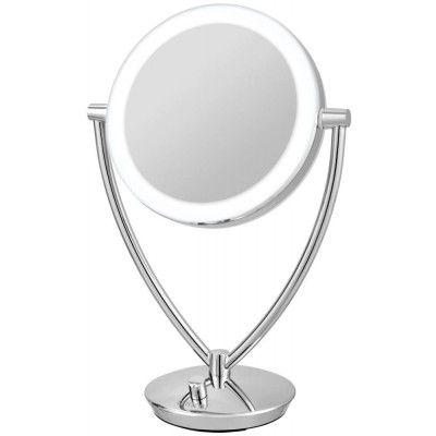 Dimmbarer LED Kosmetikspiegel mit 5-fach Vergrößerung und normaler Ansicht von Nicol.