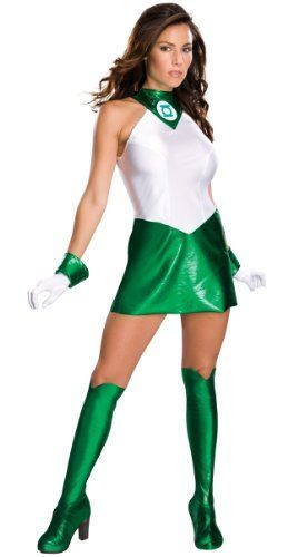 I love this usper sexy green and white womens Halloween Superhero costume. Secret Wishes Women's Green Lantern Adult Super Heroine Costume