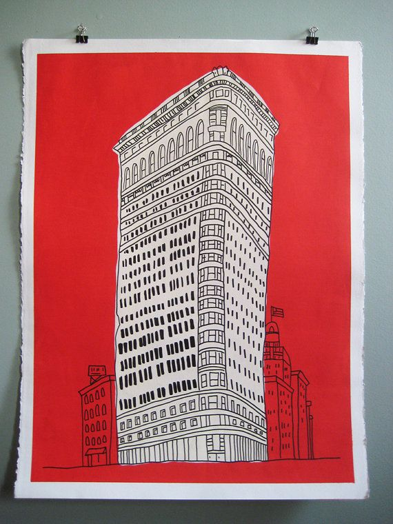"NYC Flat Iron Building Poster by Marz Jr. / Jason Marzloff.  Hand Painted, Acrylic and ink on archival Canson Edition 250gsm paper. As each work is hand painted by the artist there may be some minor variation in the image. Painting comes unframed.  Paper size 22"" x 30-1/2"", Images size 19-3/4"" x 28"". A simple and inviting rendering of one of New York's most famous skyscrapers, the Flat Iron Building Painting is an original piece of art by Brooklyn-based artist and illustrator, Marz Jr. Each…"