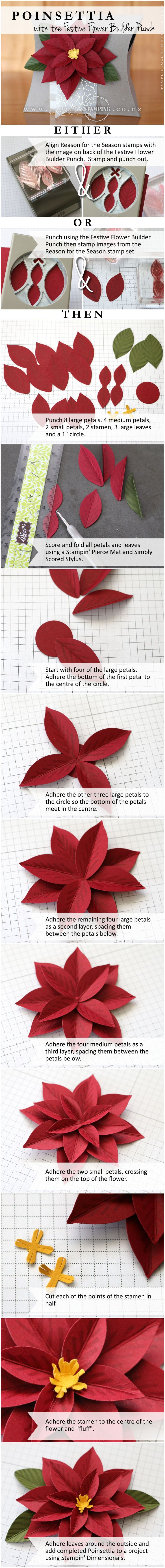 Create a Christmas Poinsettia with the Festive Flower Builder Punch and coordinating Reason for the Season stamp set. http://www3.stampinup.com/ECWeb/ProductDetails.aspx?productID=140847&dbwsdemoid=4002741 | www.creativestamping.co.nz | Stampin' Up! | 2015 Holiday Catalogue