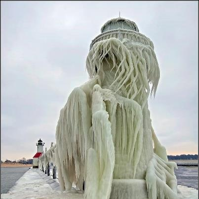 Aftermath of the Winter Storm - St. Joseph (Joe) Lighthouse & Pier -     photo credit Tom Gill: Winter, Lake Michigan, Nature, Lighthouses, Lakes, Photo, Frozen Lighthouse, Light Houses