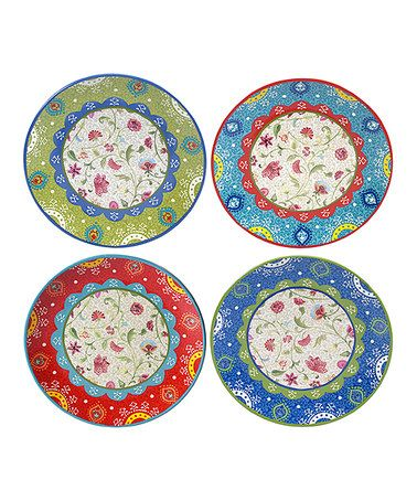 Anabelle Dinner Plate - Set of Four #zulilyfinds  sc 1 st  Pinterest & 592 best Pretty Plates/Bowls/Platters/Chargers/ Display Stands ...