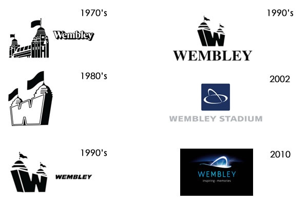 Wembley Stadium's logo has made it look alternately like a Sesame Street cartoon, an airline and the House of Parliament.