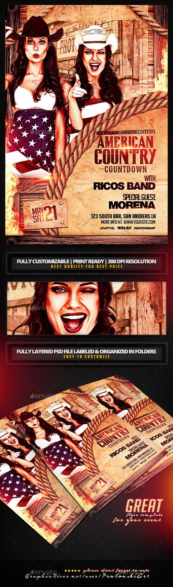 American Country Countdown Event Flyer Template - Miscellaneous Events