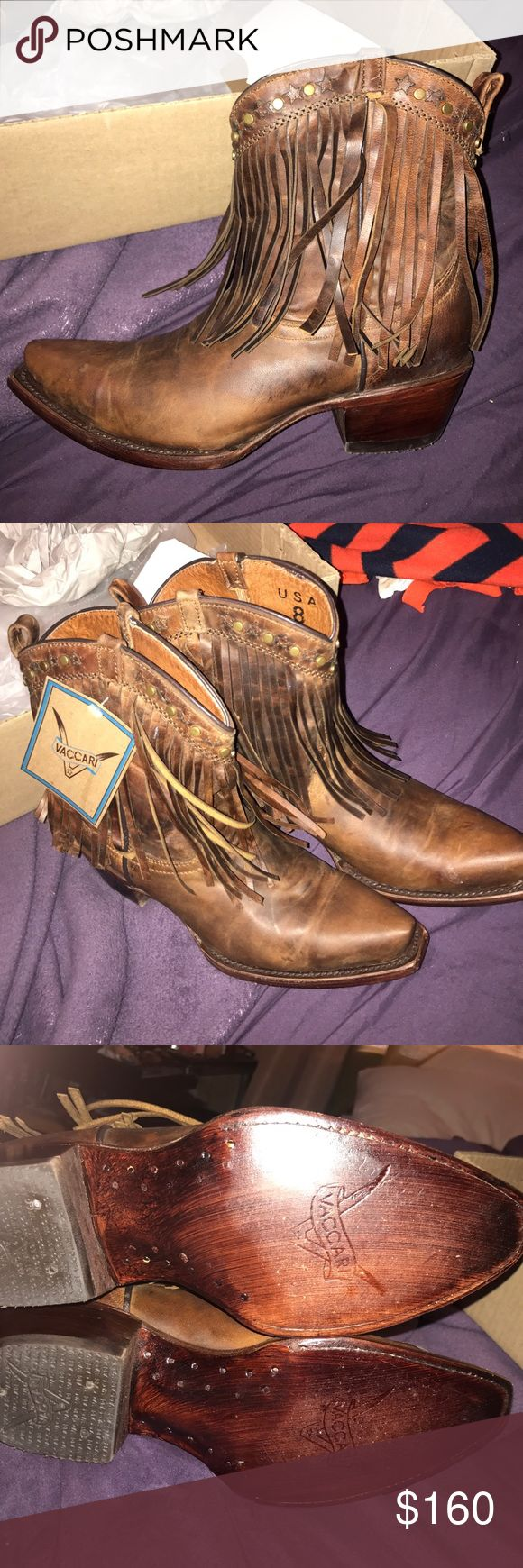 Fringe ankle cowboy boots! NWT never work fringe cowboy boots! I'm a size 8.5 normally but these fit fine! :) selling because I haven't worn them and don't know if I will! Any questions please ask! ❤ Shoes Ankle Boots & Booties