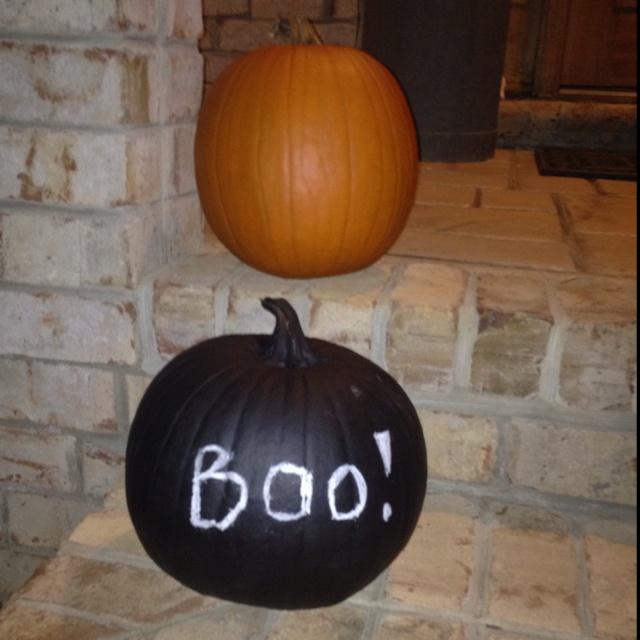 Chalk board paint pumpkin!