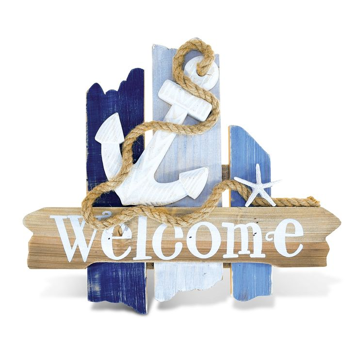 Enhance your nautical interior decor with this Atlantic Anchor welcome sign. This handcrafted piece made from real wood boasts attention-getting ship-themed accents and comes ready to hang on a wall o