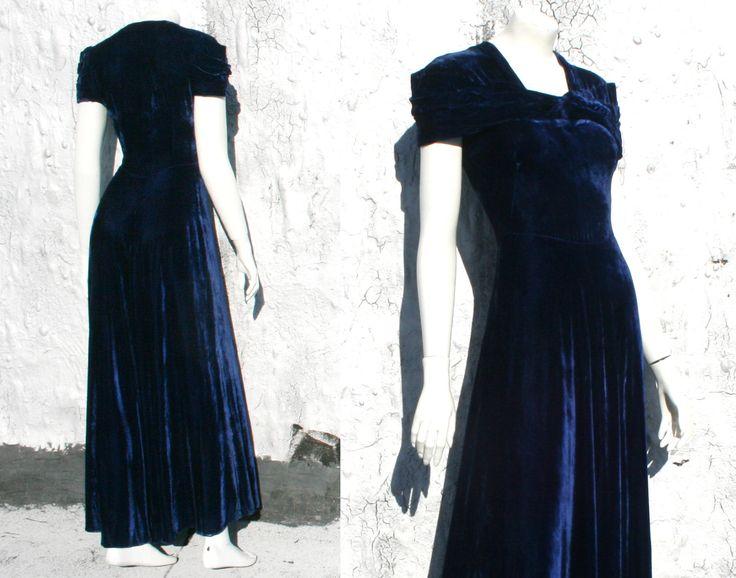 Blue dress vintage 30s dresses