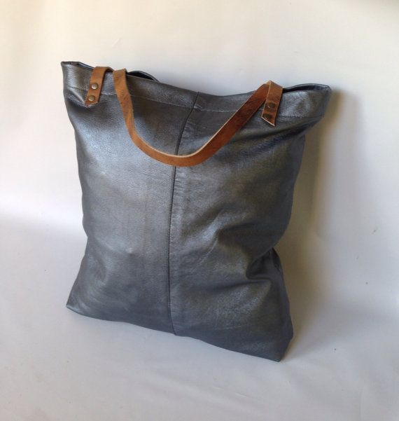 Large Camino leather tote bag in metallic by valhallabrooklyn, 13x16x3.5, $85