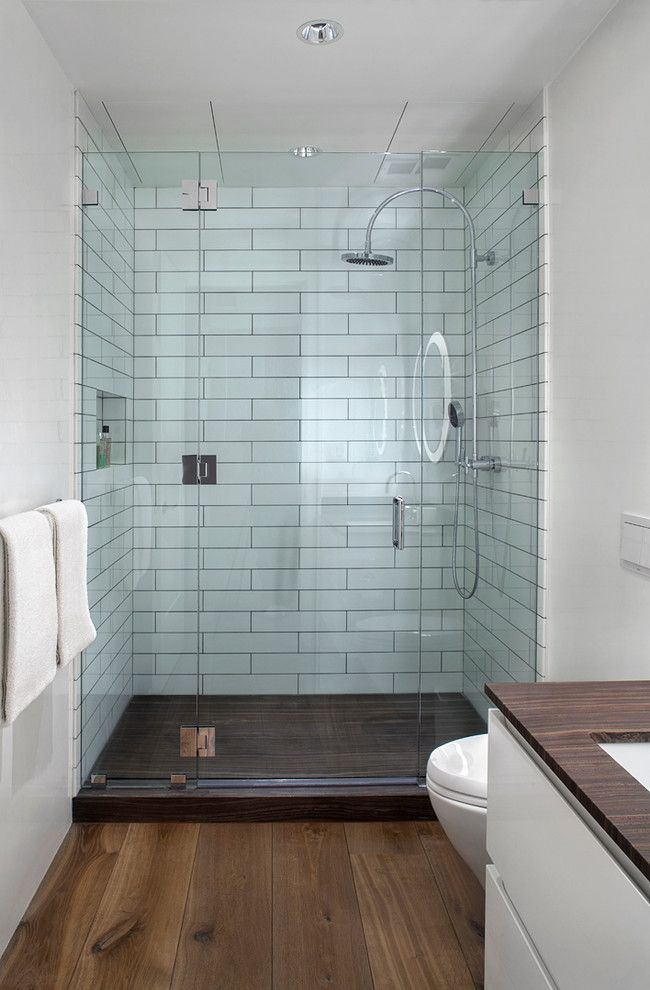 Inspiring Loft Apartment Designed By Morris Woodhouse Interiors Located In New York United States Wood Tile Shower Wood Floor Bathroom