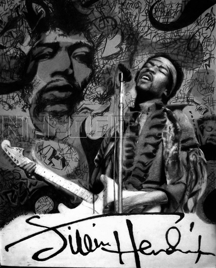 Shared Board Cause To Pause: JIMI HENDRIX HAZE (BLACK AND WHITE)'INFO: PENCIL CRAYON17