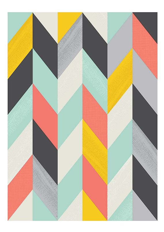Abstract art Geometric Art Harlequin Retro poster Mid by handz