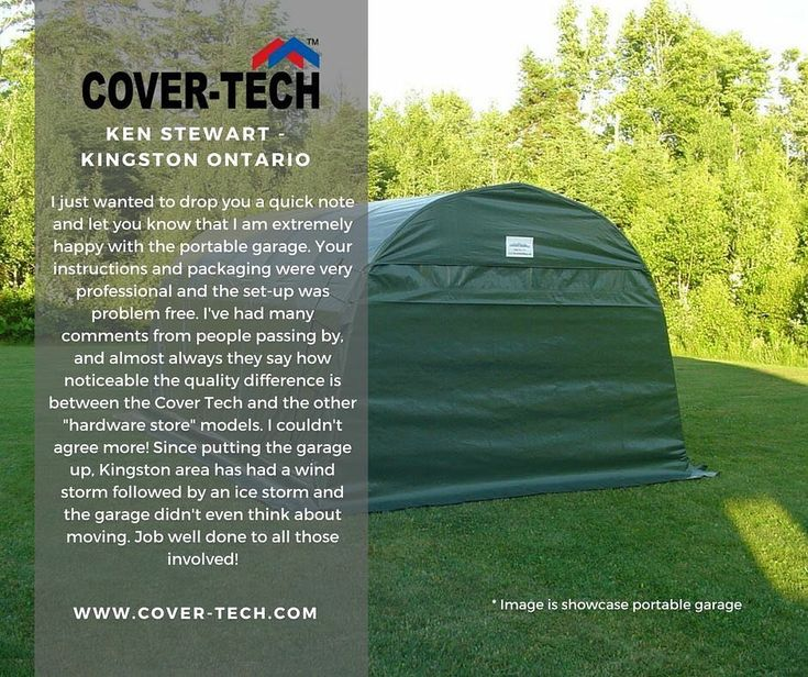 Ken Stewart from Kingston Ontario said.... We thank you for your kind words! Read more testimonials here: http://www.cover-tech.com/testimonials #picoftheday #portablegarage #shelter #product #highquality #testimonial #madeincanada #rvgarage #boatgarage #cargarage #testimonials #tbt