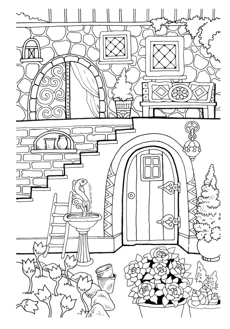 Nice Little Town 2 (Adult Coloring Book, Digital Pages ...