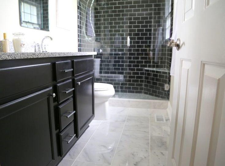 Image result for black tile bathroom