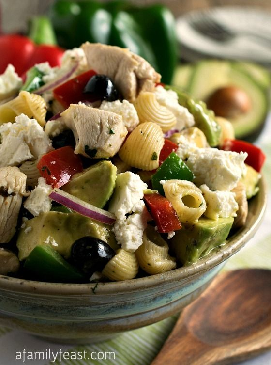 Avocado Chicken Pasta Salad - An easy, healthy and delicious all-in-one meal The vinaigrette used on this salad is fantastic