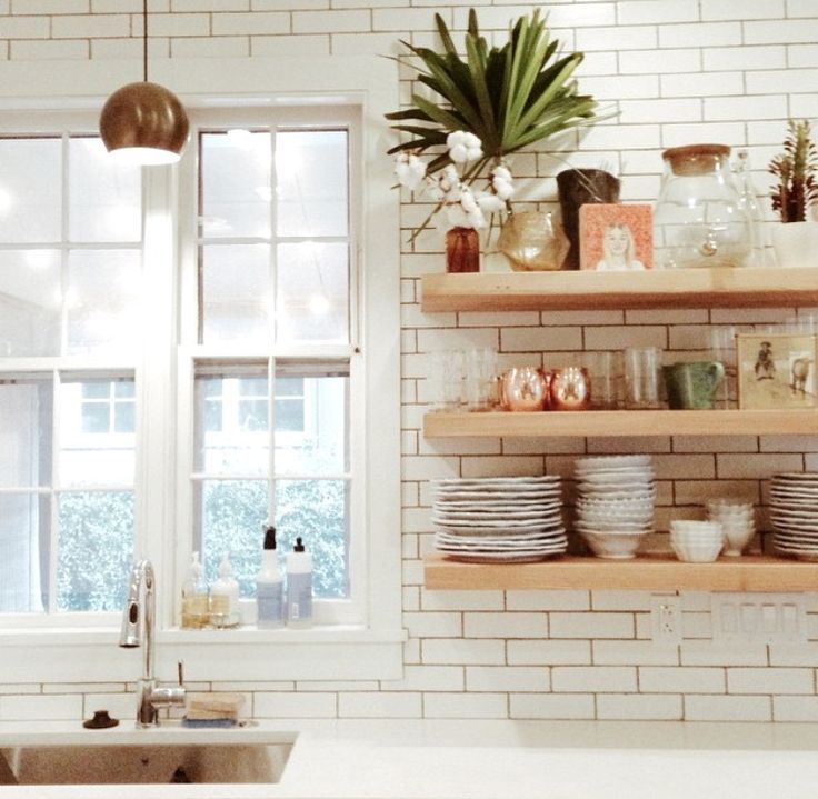 Suspended Glass Shelves In Kitchens: Kitchen Open Shelving And Wood Range Hood