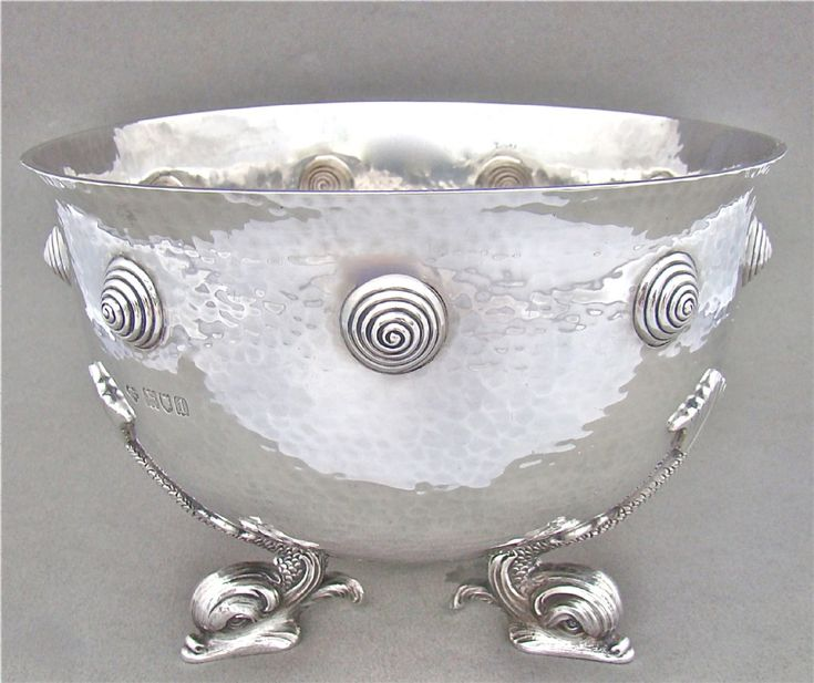 EXCEPTIONAL ARTS CRAFTS SILVER ROSE BOWL BY THE GOLDSMITHS SILVERSMITHS COMPANY LONDON 1906