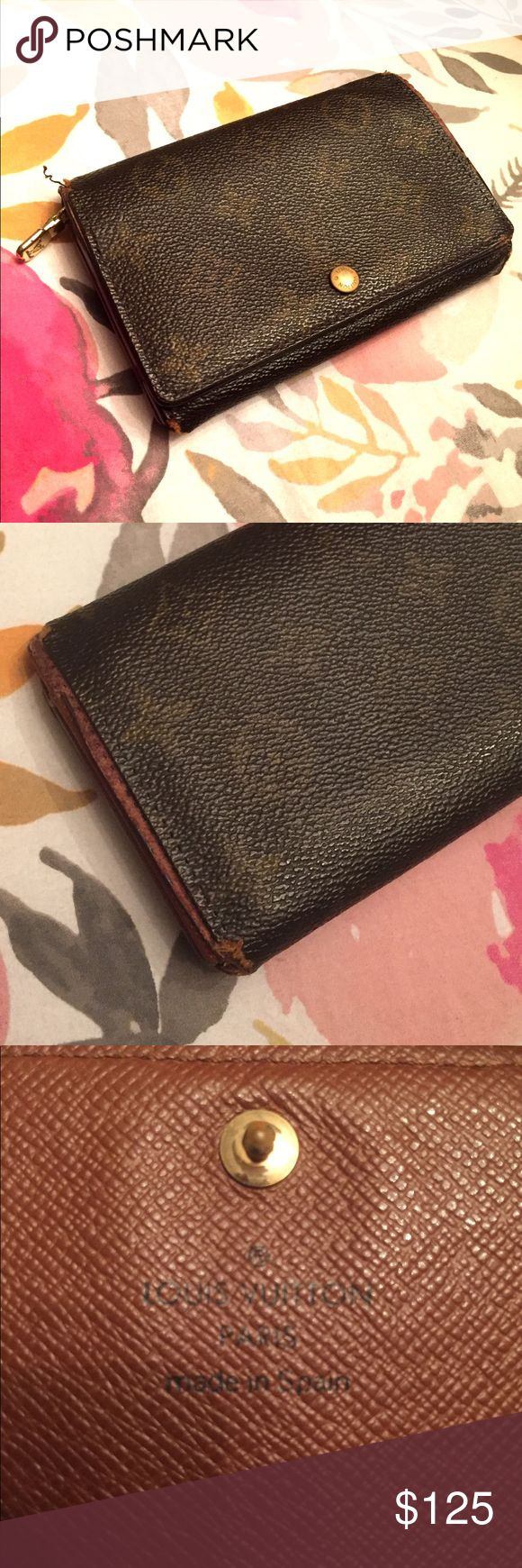 AS IS 💯 authentic vintage Louis Vuitton Wallet Well loved Louis Vuitton Wallet - many signs of use as shown but lots of life left! Make sure you take a look at the photos :) being sold as is for a very low price. Louis Vuitton Bags Wallets
