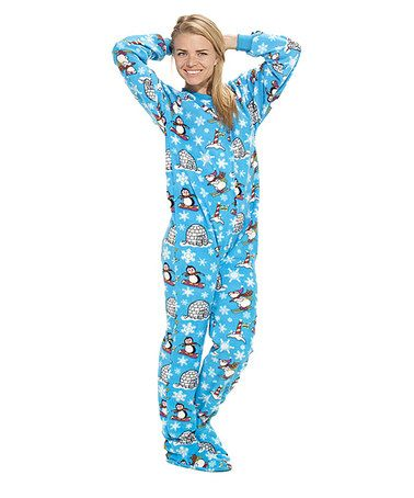 Take a look at this Blue Winter Wonderland Footie Pajamas - Adults by Footed Pajamas on #zulily today!