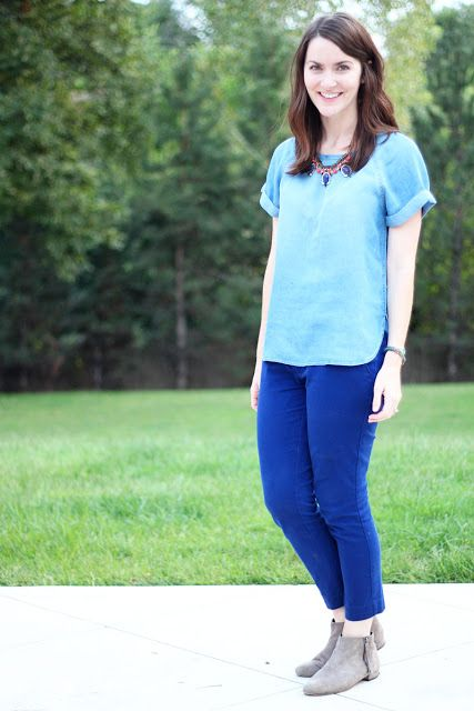 short sleeve chambray with cobalt pants