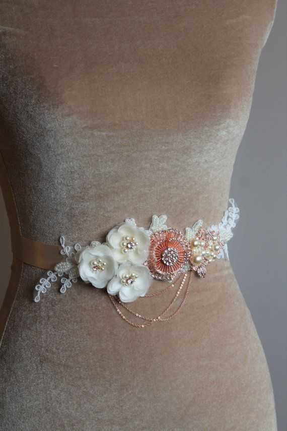 Rose Gold Bridal  belt- Bridal sash -  Wedding sash belt- Wedding sash- Champagne bridal  dress belt - Flower belt -VICTORIA