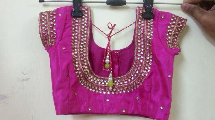Two line mirror work blouse