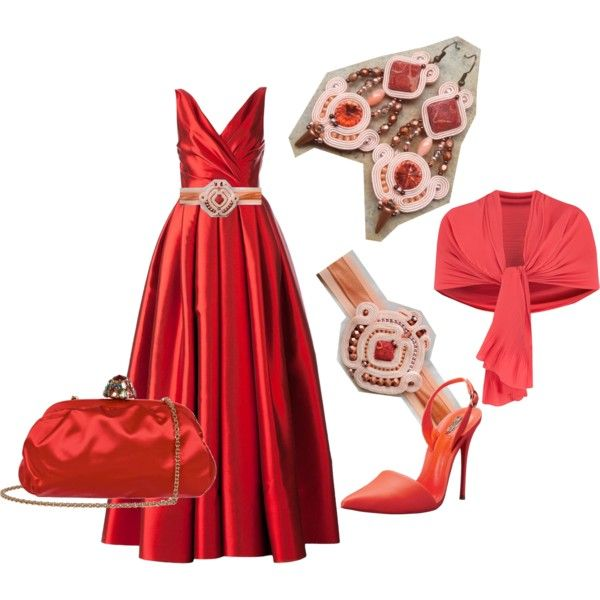 sweet salmon by galeriamagia on Polyvore featuring moda, Reem Acra, Schutz, Dolce&Gabbana, Chesca and SALAR