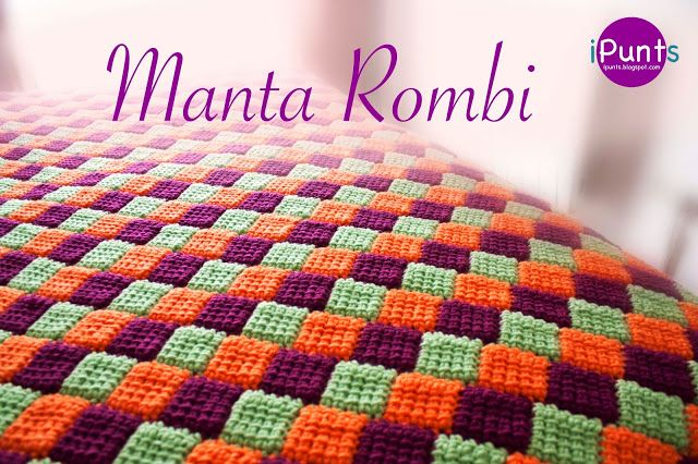 Вязаное одеяло-ромбы в технике Entrelac крючком