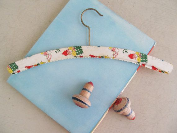 Totally cute little vintage childrens coat hanger~Cheery gnomes in lovely bright colours~Vintage nursery or playroom decor