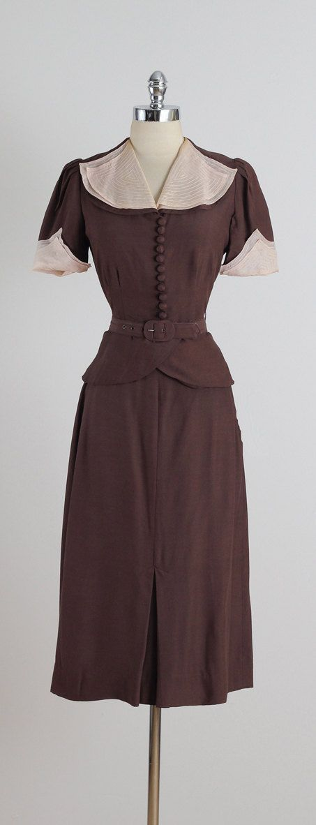 ➳ vintage 1940s blouse & skirt * brown cotton * nude sheer layer on collar & sleeves * detachable belt * button front shirt * metal side zip