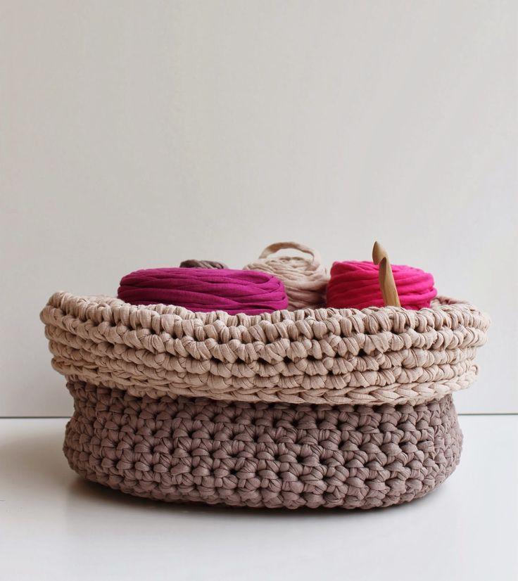 Cestos de trapillo tejer una cesta con trapillo - Tejer con trapillo ...