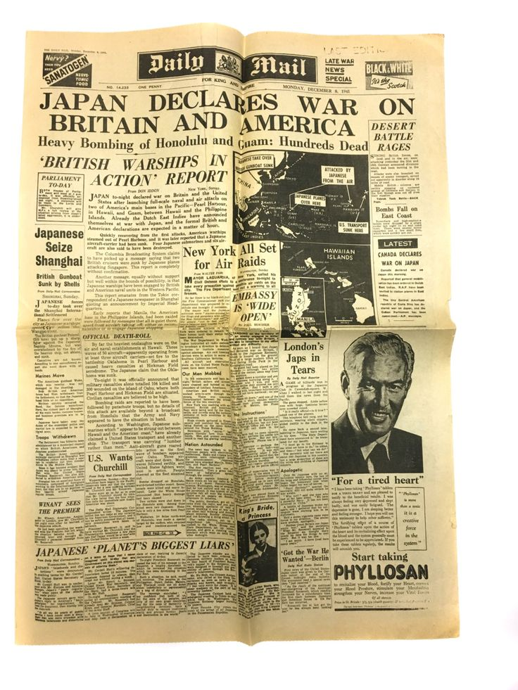 Pearl Harbour Japan Declares War on America Attack on Pearl Harbor Honolulu Daily Mail Antique Newspaper WWII Newspaper Vintage Ephemera by BiminiCricket on Etsy
