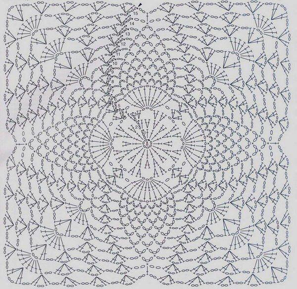 square pineapple crochet diagram | Found on sueleecroche.blogspot.com
