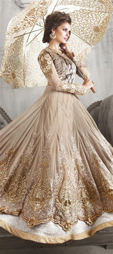 413424: Beige and Brown color family unstitched Anarkali Suits.
