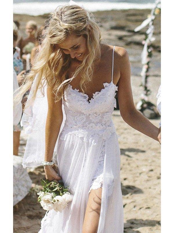 Sheath/Column Spaghetti Straps Sleeveless Chiffon Lace Sweep/Brush Train Wedding Dresses