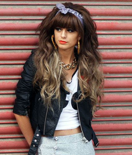 80s hair style. Love the ombré, bandana and hoops!! Big hair don't care!