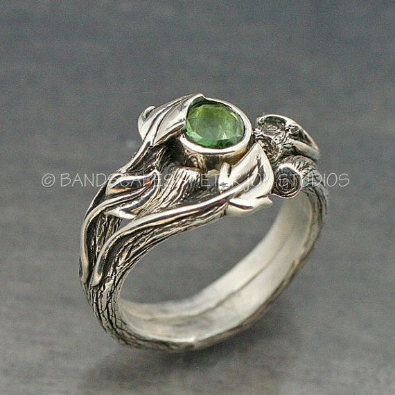 DESERT ROSE Engagement and Wedding band Set - Rose Cut Tourmaline.  This set in sterling silver