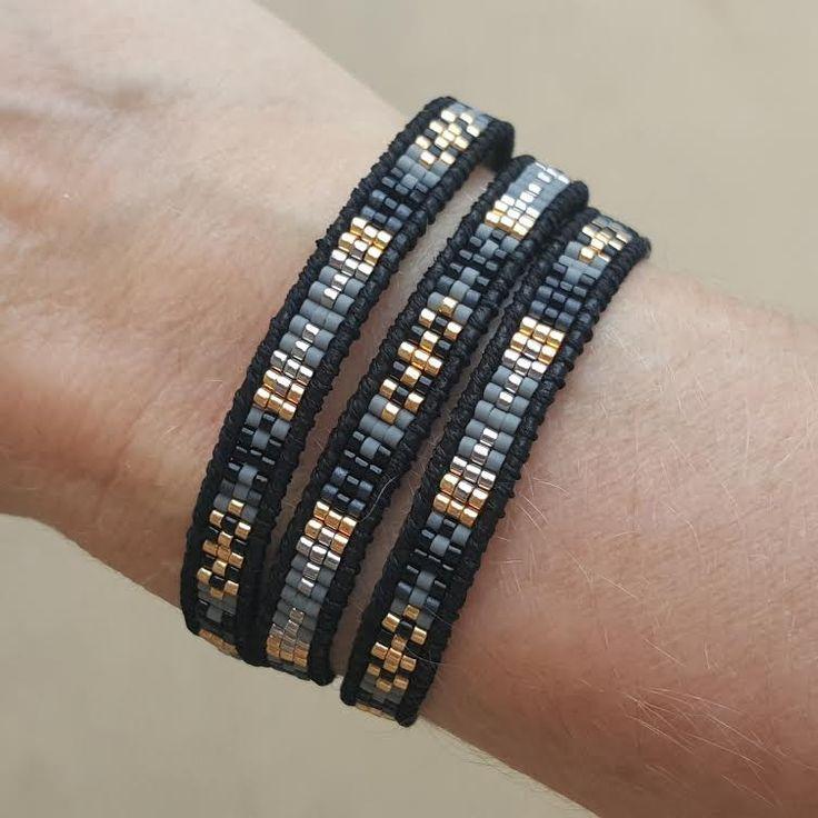 Black and Grey Mix of Miyuki Glass Seed Beads on Black Leather Wrap Bracelet