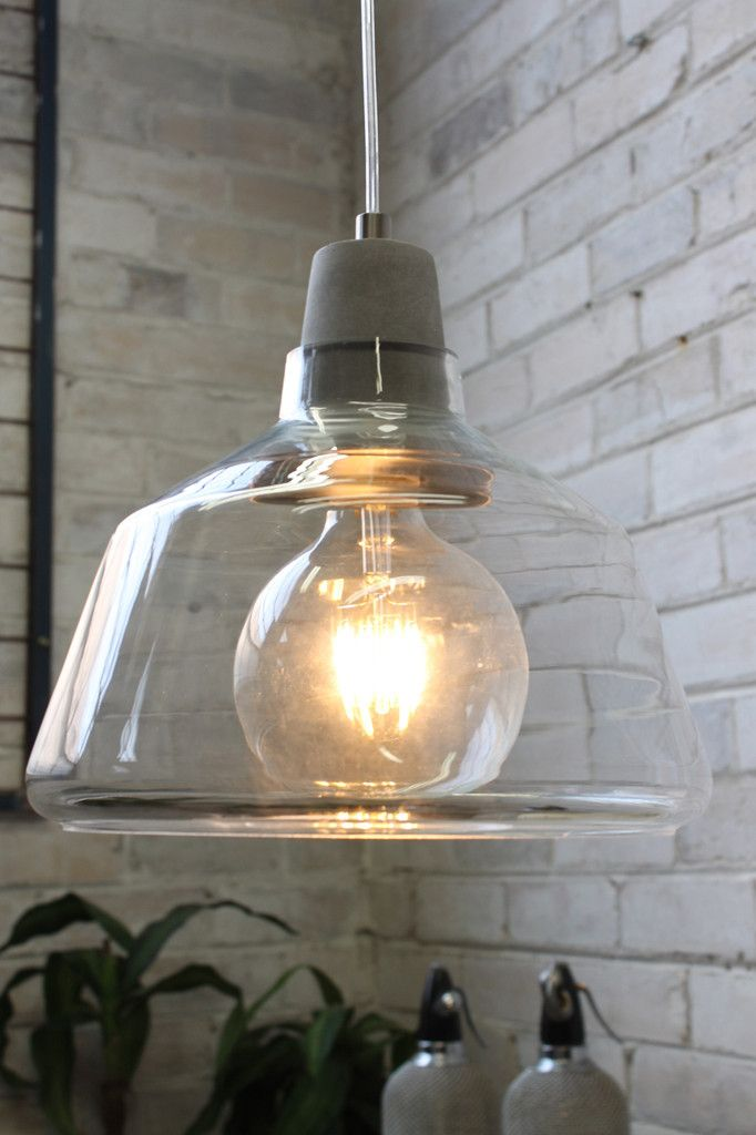 Concrete Top Glass Light with large LED bulb