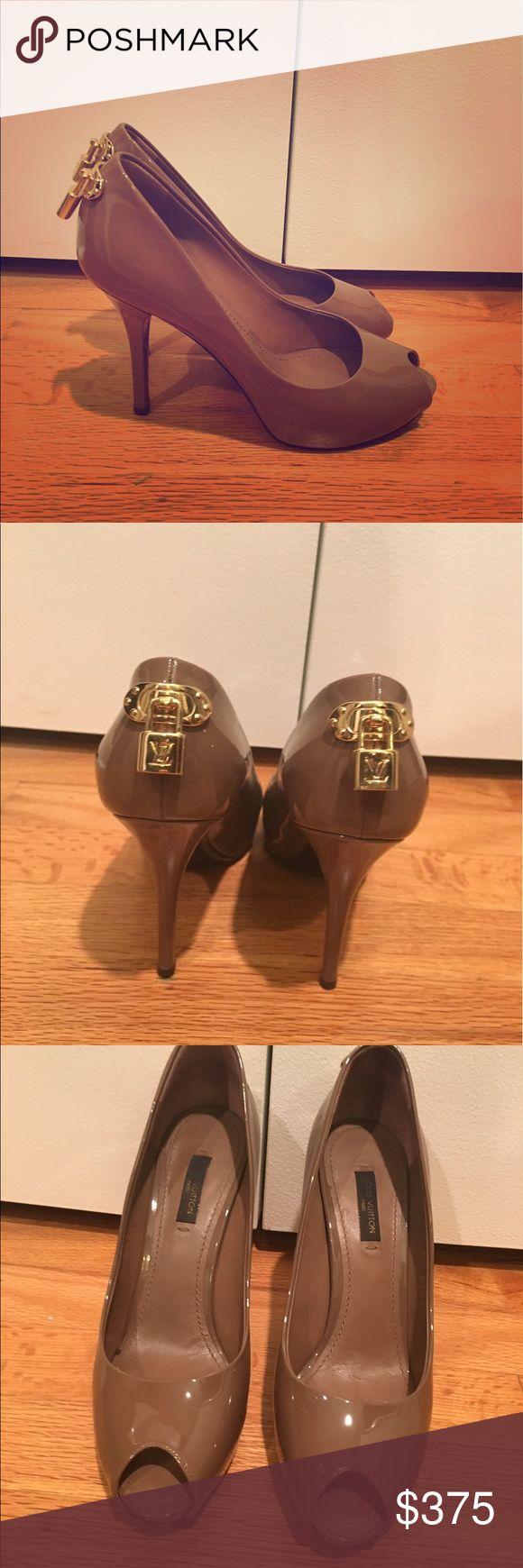 Louis Vuitton Pumps Louis Vuitton peep toe pump. Taupe color. Size 37 (I wear a 7 and they fit perfect). 9cm heal. Louis Vuitton Shoes Heels