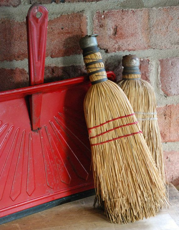 FREE SHIPPING!! - Farmhouse Red Metal Dust Pan with Two Whisk Brooms - Set of Vintage Hand Brooms w/Rustic Red Dust Pan - Straw Brooms & Pan