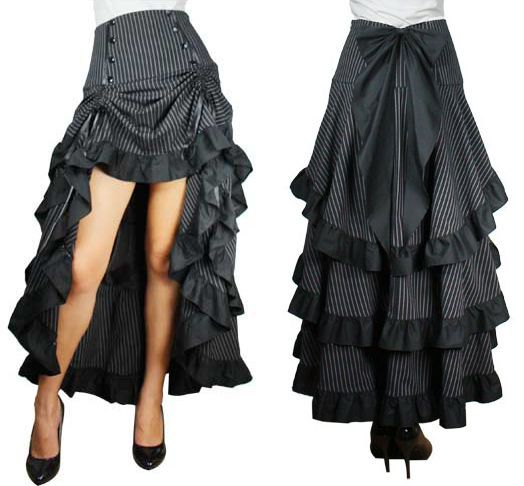 High Waist Long Black Pinstripe Tiered Layered Skirt Bow Steampunk Pirate Goth  #Unbranded #Tiered